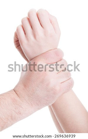 Stop violence against women concept with man hands grabbing woman arms with aggressivity - stock photo