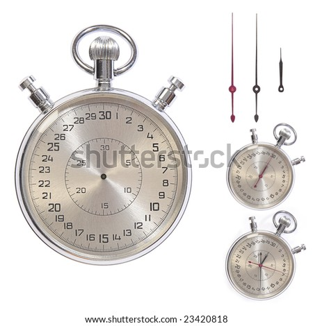 Stop-watch. Clock-face and pointers separately. Clipping paths - stock photo