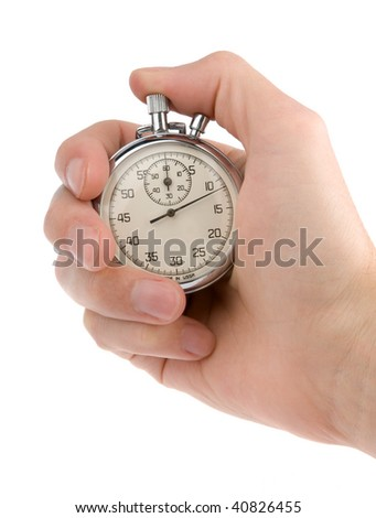 Stop-watch in a hand, isolated on white