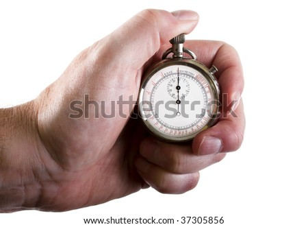 Stop-watch in a hand, isolated on white background