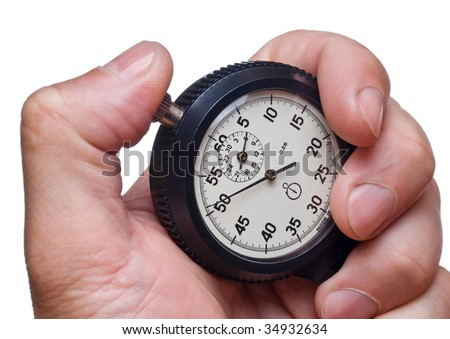 Stop-watch in the man's hand (isolated)