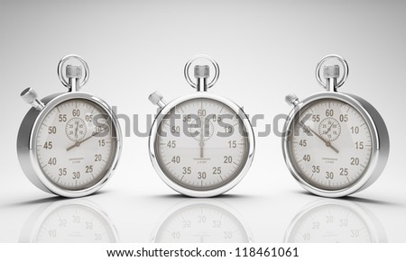 Stop Watch with Clipping Path for Dials and Watch and Ground Reflection, Three Different Views - stock photo