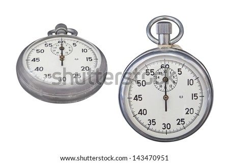 stop-watches under the white background - stock photo