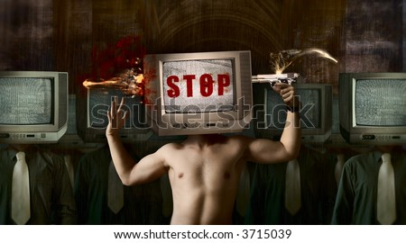Stop your TV! Concept art image about bad influence of television. - stock photo