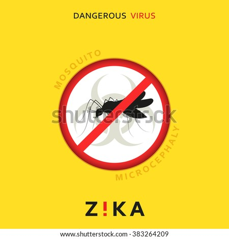 Stop zika. Dangerous virus. Caution virus threat. Mosquitoes infected with microcephaly. Mosquitoes are carriers dangerous diseases. Virus dangerous for pregnant women,  Illustration of danger warning - stock photo