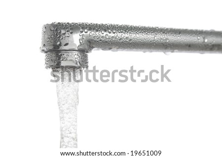 stopcock and running water isolated with Clipping Path - stock photo