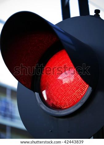 Stoplight of grade crossing - stock photo