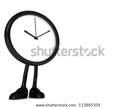 stopped clock, with legs and feet. - stock photo