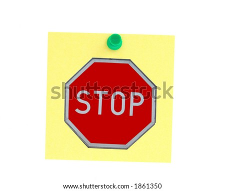 stopping post-it - stock photo