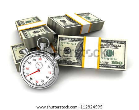 Stopwatch and dollar packs. time is money concept - stock photo