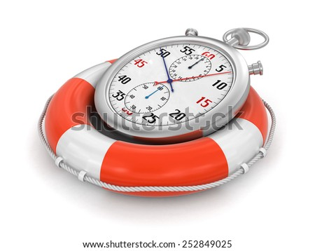 Stopwatch and lifebuoy (clipping path included) - stock photo
