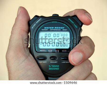 Stopwatch, chronometer, all set, and ready to go - stock photo
