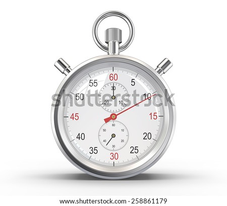 Stopwatch. Classic stopwatch. Glass reflections and ground shadow. Clipping path. - stock photo