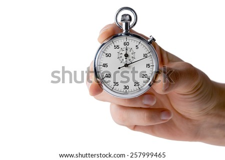 stopwatch hold with three fingers, white background - stock photo