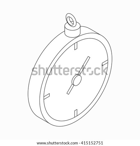 Stopwatch icon, isometric 3d style - stock photo