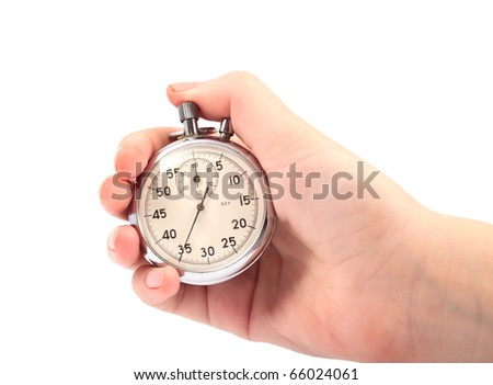 stopwatch in hand on white background - stock photo