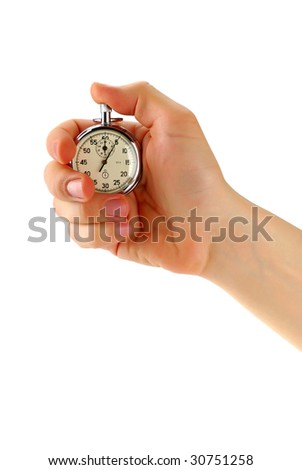 Stopwatch in male hand, isolated on white - stock photo