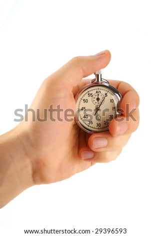 Stopwatch in male hand, isolated on white, clipping path - stock photo