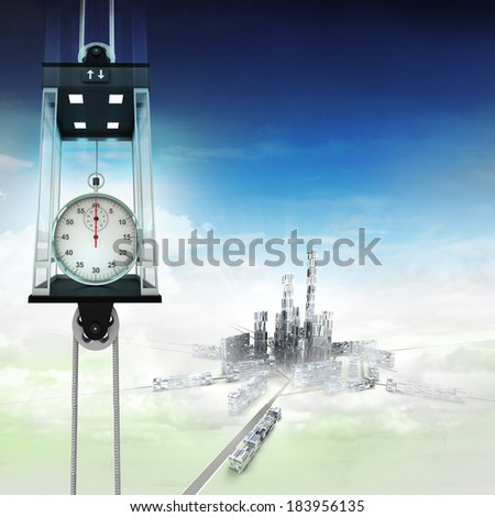 stopwatch in sky space elevator concept above city illustration - stock photo