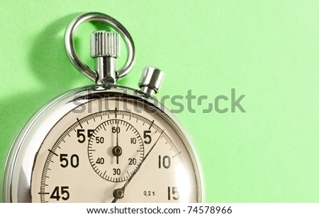 Stopwatch isolated on green