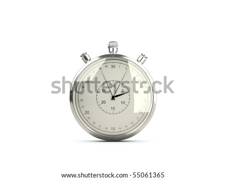 Stopwatch isolated on white - stock photo