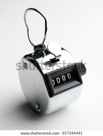 Stopwatch isolated on white background, close up - stock photo
