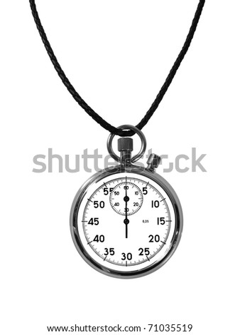Stopwatch on a rubber lace on the isolated white background - stock photo