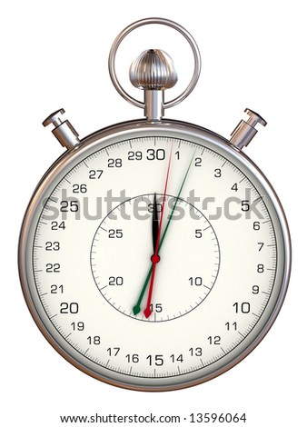 Stopwatch on white background, 3d