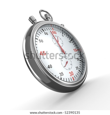 Stopwatch on white background. Isolated 3D image - stock photo