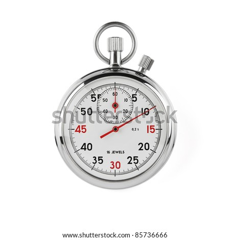 Stopwatch on white background with clipping path - stock photo