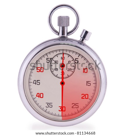 Stopwatch on white. Clipping path included