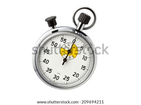 Stopwatch second hand housing is a metal silhouette on a white background.  - stock photo
