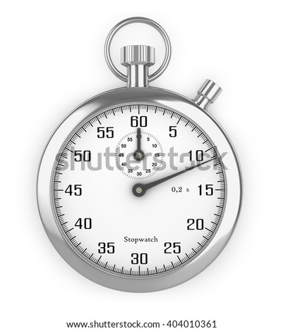 Stopwatch silver isolated white fonom.3D Image - stock photo