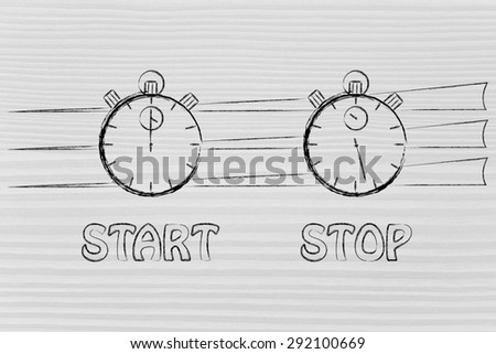 stopwatch start and stop: concept of achieving goals at record time - stock photo