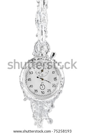 Stopwatch surrounded by a stream of water on a blue background. Metaphor of flowing away time. Isolated on white [with clipping path]. - stock photo