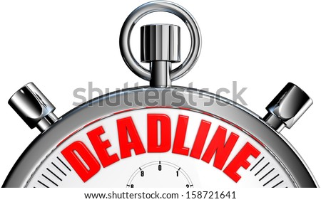 stopwatch with a deadline icon - stock photo