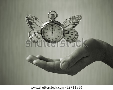 stopwatch with butterfly wings levitating above hand, black and white, slight green toning - stock photo
