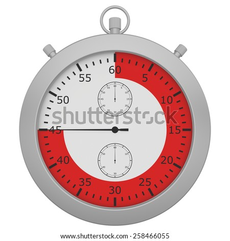 stopwatch with button and red range isolated on white background. - stock photo