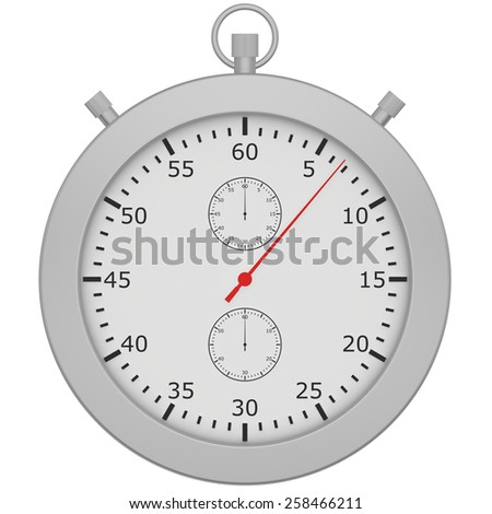 stopwatch with button isolated on white background. - stock photo
