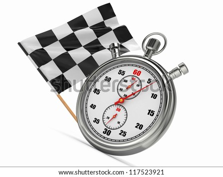 Stopwatch with checkered flag. Start or finish. 3d