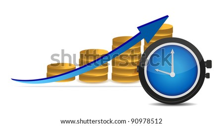 stopwatch with coins and arrow - stock photo