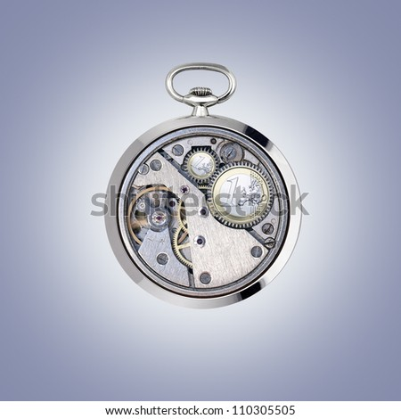 Stopwatch works with coins - stock photo