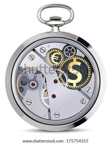 Stopwatch works with coins signs. Illustration - stock photo