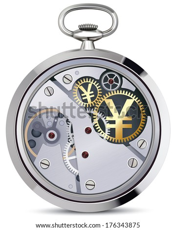 Stopwatch works with yen coins signs. Illustration - stock photo