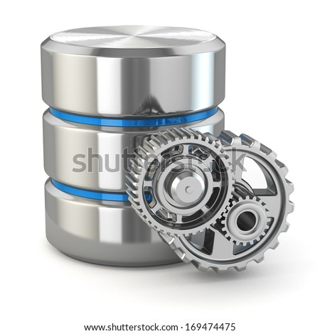 Storage administration concept. Database symbol and gears. 3d - stock photo