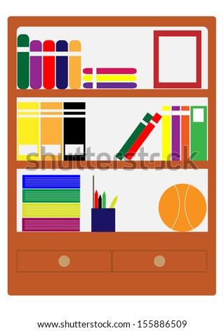 Storage cabinets, books and school supplies.