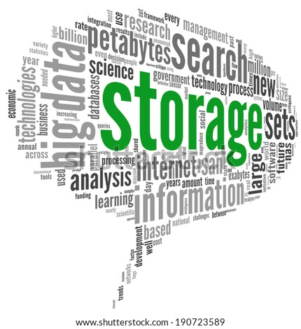 Storage concept in word tag cloud on white background - stock photo