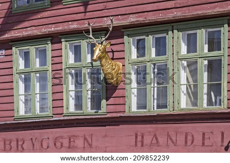 Storage house detail in Bergen in Bryggen district, an old former Hanseatic city district - stock photo
