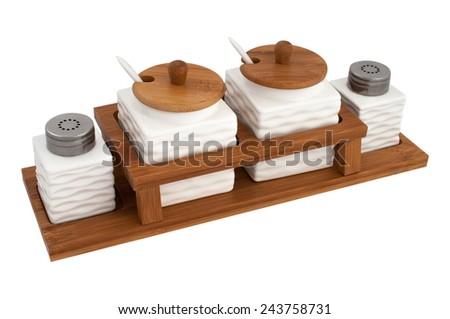 storage jars tea and coffee, sugar, salt isolated on white background - stock photo