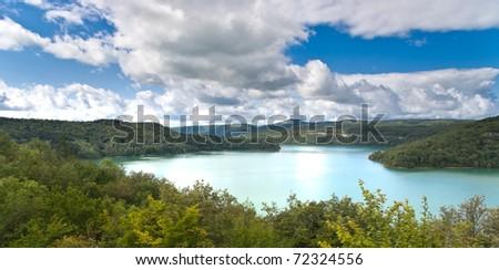 "Storage lake called ""Lac de Vouglans"" in north eastern france (departement Jura, near Lons le Saunier) - stock photo"